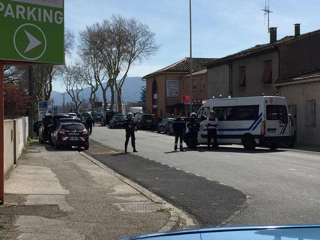 A heavy police presence was seen in the town, 91km south-east of Toulouse.