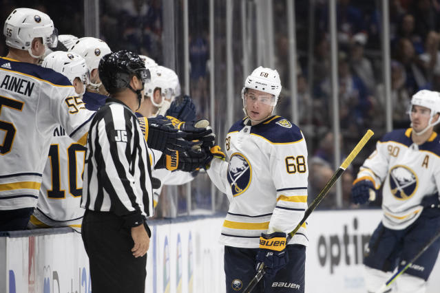 Buffalo Sabres left wing Victor Olofsson (68) celebrates his goal against the New York Islanders in the second period of an NHL hockey game, Saturday, Dec. 14, 2019 in Uniondale, N.Y. (AP Photo/Mark Lennihan)