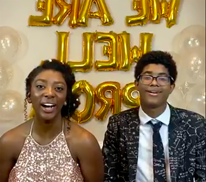 Image: Hannah, 18, and her brother Charlie, 15, hosted the virtual prom. (Hannah Lucas)