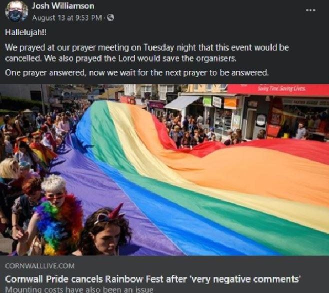Mr Williamson sparked anger when he shared a local news article about the pride event being cancelled (Picture: Facebook)