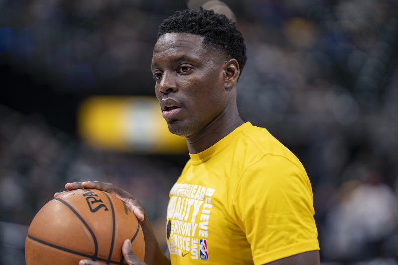 INDIANAPOLIS, IN - FEBRUARY 09: Darren Collison #2 of the Indiana Pacers is seen before the game against the Cleveland Cavaliers at Bankers Life Fieldhouse on February 9, 2019 in Indianapolis, Indiana. NOTE TO USER: User expressly acknowledges and agrees that, by downloading and or using this photograph, User is consenting to the terms and conditions of the Getty Images License Agreement. (Photo by Michael Hickey/Getty Images)