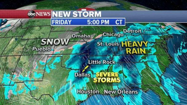 PHOTO: By Friday, a strong storm will move from the West into the central U.S., it will combine with Gulf of Mexico moisture to produce a severe weather outbreak across the South with damaging winds, hail and tornadoes possible. (ABC News)