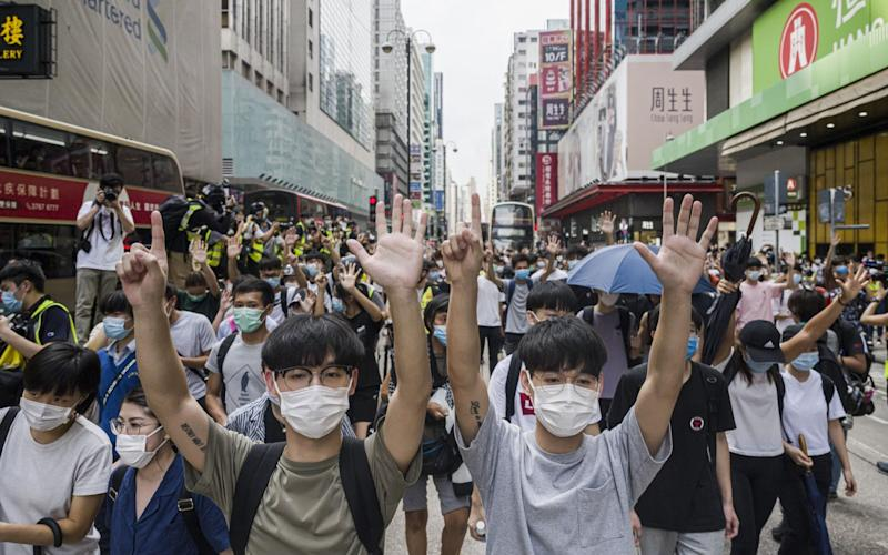 Hong Kong protesters rally against China's national security law at Mongkok district on May 27, 2020 in Hong Kon - Getty Images
