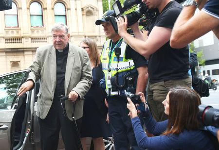 Cardinal George Pell is seen at County Court in Melbourne, Australia, February 26, 2019, AAP Image/David Crosling/via REUTER