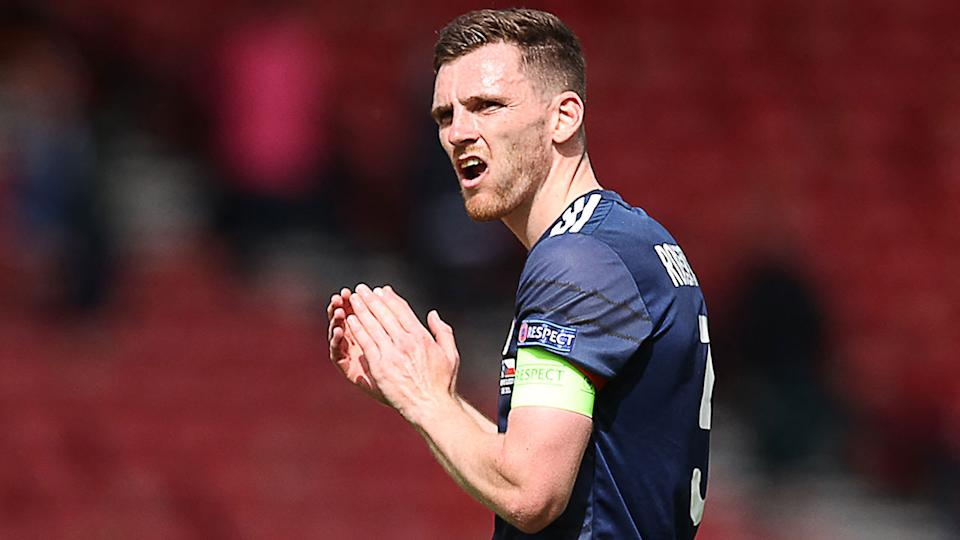 Pictured here, Scotland captain Andy Robertson looks frustrated in the match against the Czech Republic.