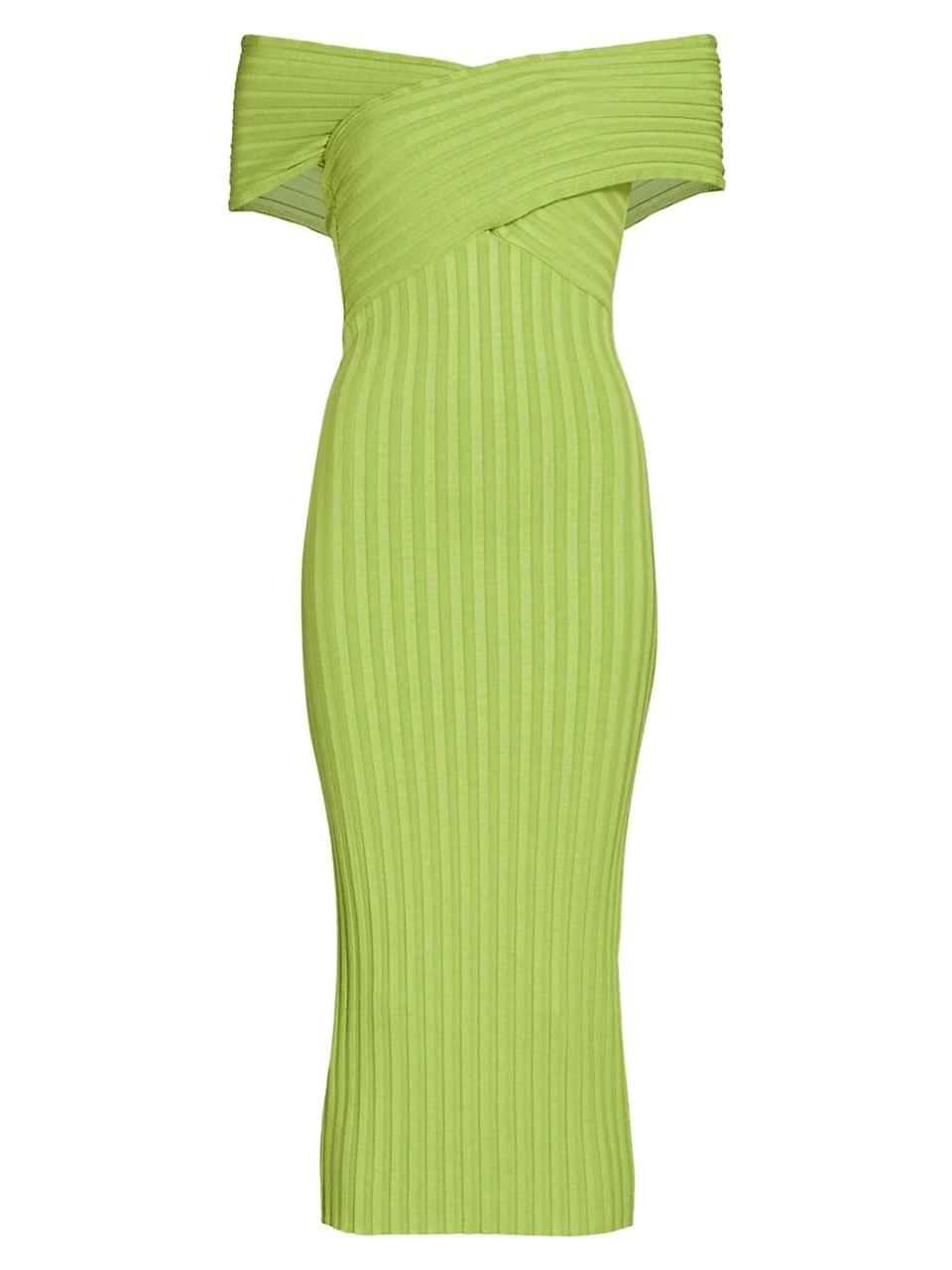 <p>Save this <span>Simon Miller Jago Off-The-Shoulder Rib-Knit Dress</span> ($198) for your next fancy party, it'll definitely get you noticed.</p>
