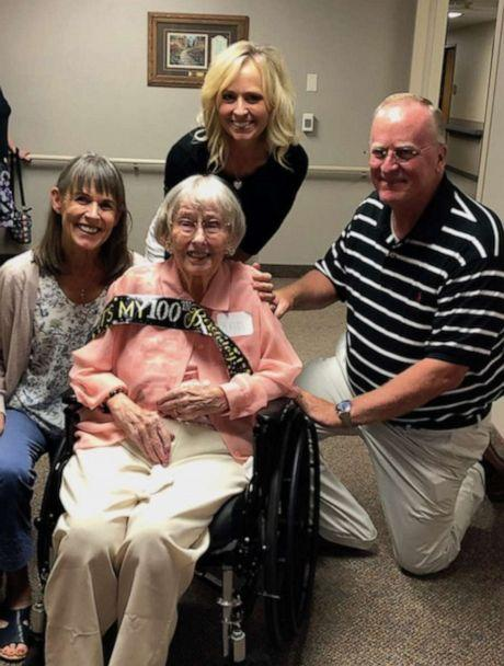 PHOTO: Ann Stueven, who turned 100 years old on July 23, poses with her nieces, Kerry Maggard and Deb Eggers and nephew, Jeff Tarrant at Good Samartian nursing facility in Minnesota on July 20. (Kerry Maggard)