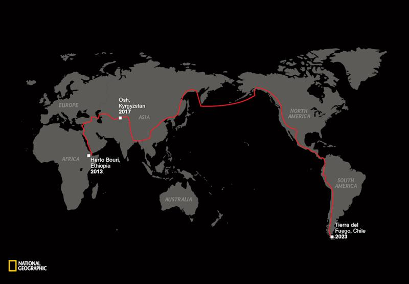 A map showing a red trail line from Ethiopia, across the planet, to South America.