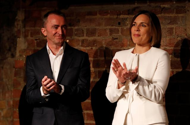 F1 Formula One - Williams Formula One Launch - London, Britain - February 15, 2018 Williams' Chief Technical Officer Paddy Lowe and Deputy Team Principal Claire Williams during the launch Action Images via Reuters/Paul Childs