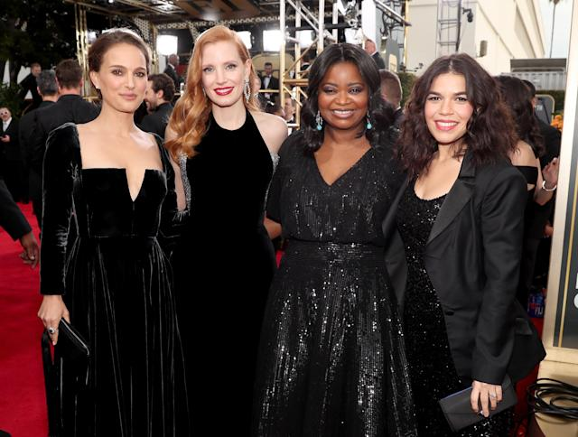 Natalie Portman, Jessica Chastain, Octavia Spencer, and America Ferrera supported a black dress code at the 2018 Golden Globes in January. (Photo by Christopher Polk/NBC/NBCU Photo Bank via Getty Images)