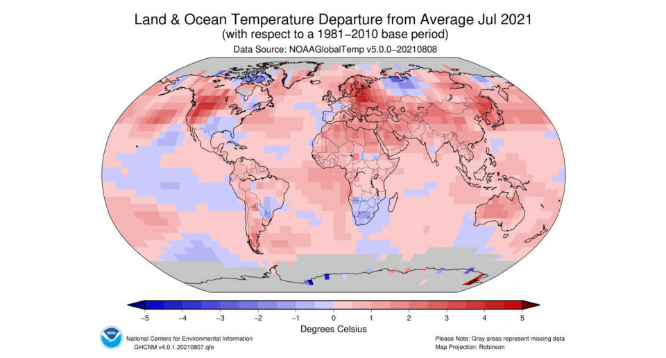 A map of the world detailing land and ocean temperature averages in July 2021. Source: NCDC