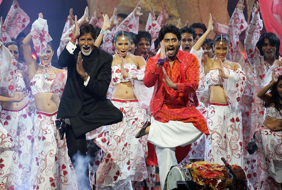 <p>File image: Bollywood actors Amitabh Bachchan and his son Abhishek Bachchan perform on stage at the International Indian Film Academy Awards </p> (Getty Images)
