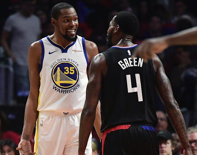 The NBA rescinded technical fouls on Kevin Durant and JaMychal Green, a development that's a much bigger deal for Durant. (AP)