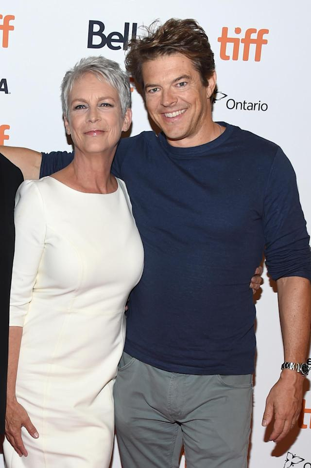 "TORONTO, ON - SEPTEMBER 08: Jamie Lee Curtis (L) and Jason Blum attend the ""Halloween"" premiere during 2018 Toronto International Film Festival at The Elgin on September 8, 2018 in Toronto, Canada. (Photo by Amanda Edwards/Getty Images)"