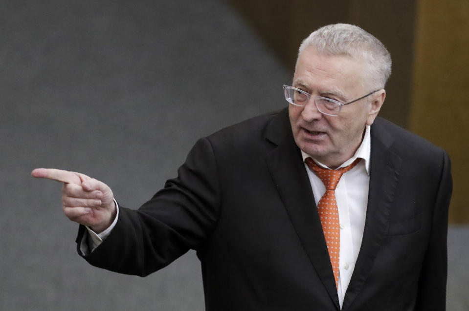 FILE - In this March 11, 2020 file photo, Russian Liberal Democratic Party leader Vladimir Zhirinovsky speaks during a session at the State Duma, the Lower House of the Russian Parliament in Moscow, Russia. Zhirinovsky, the nationalistic leader of the Liberal Democratic Party of Russia, suggested that the U.S. and its greedy pharmaceutical companies were to blame for the coronavirus. (AP Photo/Pavel Golovkin)