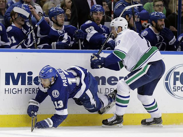 Vancouver Canucks defenseman Alexander Edler (23), of Sweden, dumps Tampa Bay Lightning center Cedric Paquette (13) along the boards during the second period of an NHL hockey game Tuesday, Jan. 20, 2015, in Tampa, Fla. (AP Photo/Chris O'Meara)