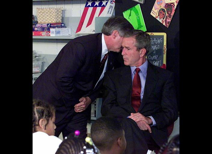 "President George W. Bush <a href=""http://timeline.national911memorial.org/#/Explore/2"" target=""_hplink"">learned</a> of the attacks at 9:05 a.m. while sitting in a second grade classroom at an elementary school in Sarasota, Florida. White House Chief of Staff Andrew Card informed him of the attacks, whispering into his ear during the students' reading lesson.  Bush recently <a href=""http://channel.nationalgeographic.com/channel/community/blogs/ngc/_george-w-bush-911-interview"" target=""_hplink"">shared</a> his memories of that day with <i>National Geographic</i>. When he received news of the first plane crash at 8:50 a.m. -- just before entering the classroom -- he thought it was ""a light aircraft, and my reaction was, man, the weather was bad or something extraordinary happened to the pilot.""  It wasn't until Card informed him of the second plane that Bush knew America was under attack."