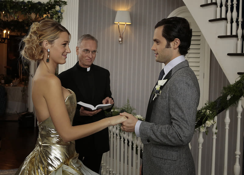 The wedding of Serena van der Woodsen (Blake Lively) and Dan Humphrey (Penn Badgley) on ?Gossip Girl? (2012).