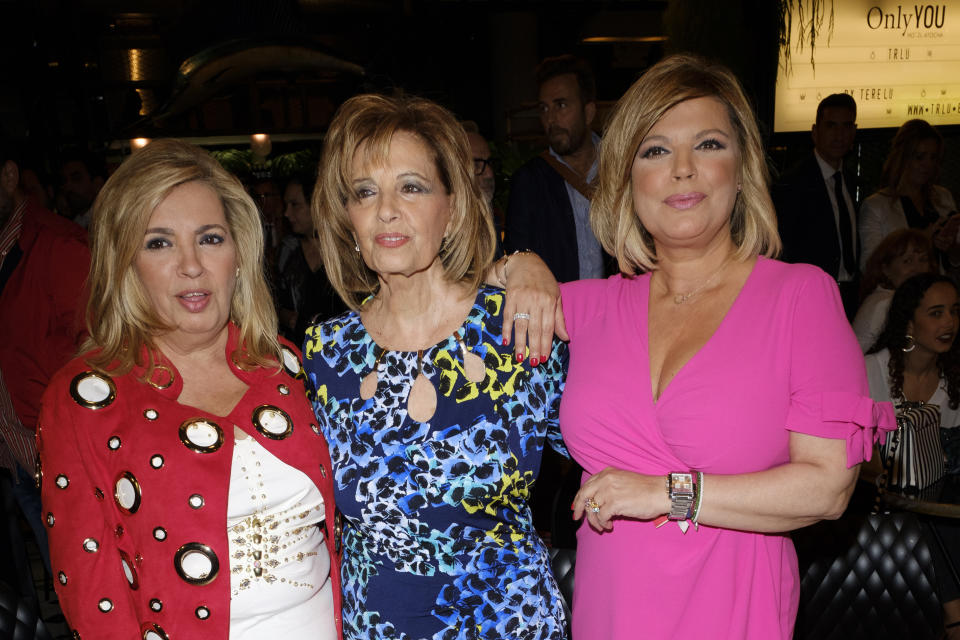 Terelu Campos, María Teresa Campos and Carmen Borrego  attends the presentation of the TRLU jewelry May 23, 2018 in Madrid, Spain. (Photo by Oscar Gonzalez/NurPhoto via Getty Images)