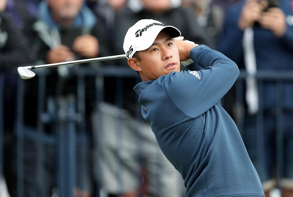 Colin Morikawa tees off with an iron (PA Wire)