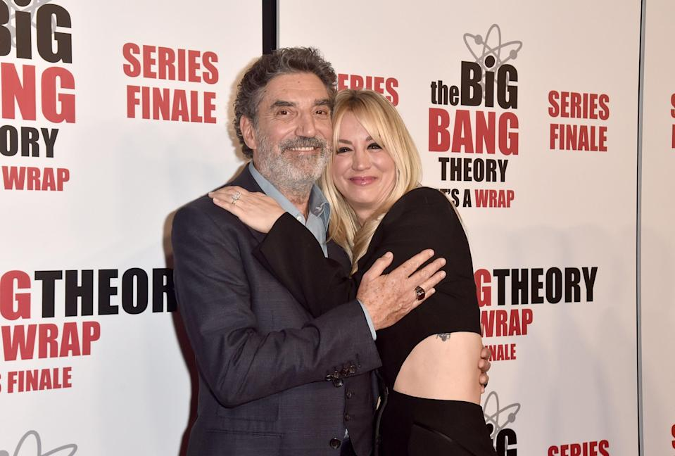 """PASADENA, CALIFORNIA - MAY 01: Chuck Lorre and Kaley Cuoco attend the Series Finale Party for CBS' """"The Big Bang Theory""""  at The Langham Huntington, Pasadena on May 01, 2019 in Pasadena, California. (Photo by Alberto E. Rodriguez/Getty Images) ORG XMIT: 775332937 ORIG FILE ID: 1146468057"""