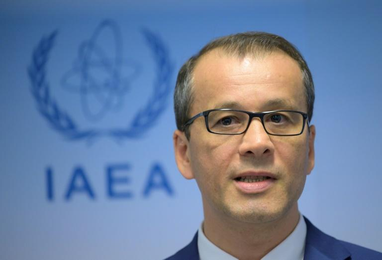 (FILES) In this file photo taken on September 9, 2019, Cornel Feruta, acting Director General of the International Atomic Energy Agency (IAEA), speaks at a press conference in Vienna, Austria.  The EU has urged Iran to cooperate with the UN's nuclear watchdog