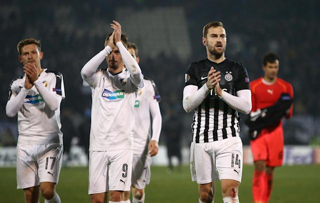 Soccer Football - Europa League Round of 32 First Leg - Partizan Belgrade vs Viktoria Plzen - Partizan Stadium, Belgrade, Serbia - February 15, 2018 Partizan Belgrade players applaud the fans after the match REUTERS/Marko Djurica