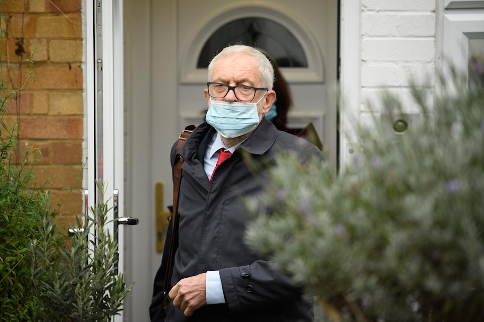 LONDON, ENGLAND - OCTOBER 29: Former Labour Party leader Jeremy Corbyn leaves his home on October 29, 2020 in London, England. The long-awaited report from the Equality and Human Rights Commission (EHRC) which was initiated in 2019 after Jewish groups alleged the party was institutionally antisemitic in its handling of complaints under the leadership of Jeremy Corbyn, is due to be published today. (Photo by Leon Neal/Getty Images)