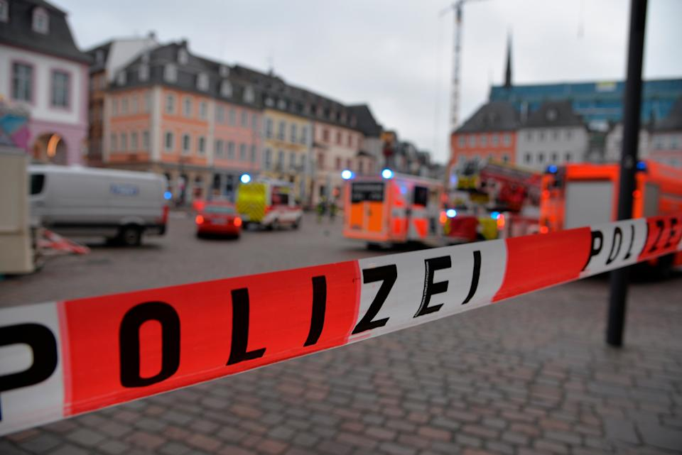 <p>A square is blocked by the police in Trier, Germany</p>AP