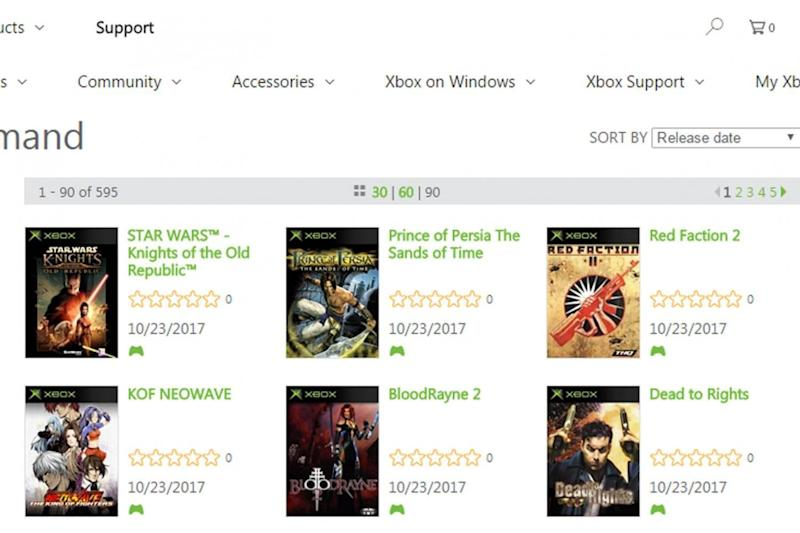 The Xbox marketplace lists six original Xbox titles