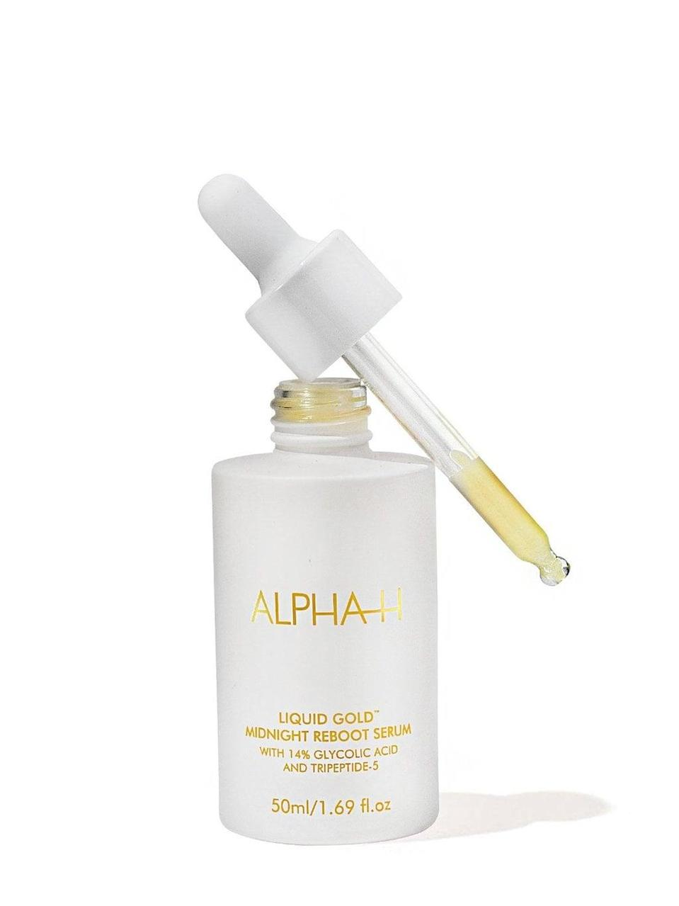 <p>The <span>Alpha-H Liquid Gold Midnight Reboot Serum</span> ($99) combines two potent, often not mixed ingredients - glycolic acid and a retinoid - to make a powerful exfoliating serum. Those with normal, combination, and dry skin can use it at night - just don't mix it with other chemical or exfoliating products.</p>