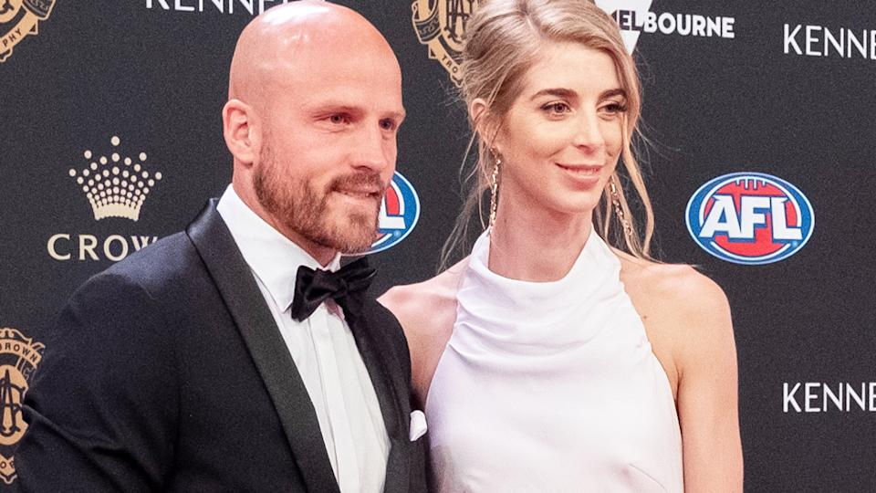 Nathan and Jerri Jones, pictured here at the 2019 Brownlow Medal night.
