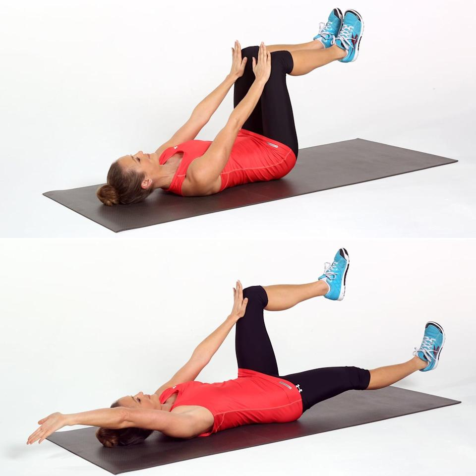 <p>The dead bug is a classic core-strengthening exercise, and Dr. Malek agreed that this move can help strengthen your core. She recommends performing it two to four times a week. </p> <ul> <li>Lie on your back with a neutral spine and your hips and knees at right angles with your palms pressed into your thighs just above your knees.</li> <li>Pull your abs to your spine, keeping your ribs and pelvis still as you lengthen your right arm and leg out until they are almost parallel to the floor. Keep your torso and spine completely stable as the arm and leg move.</li> <li>Return to the starting position and repeat on the left side to complete one rep.</li> <li>Perform eight to 15 reps, and complete a total of three sets.</li> </ul>