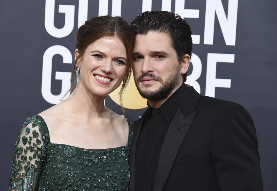 Rose Leslie, left, and Kit Harington arrive at the 77th annual Golden Globe Awards at the Beverly Hilton Hotel on Sunday, Jan. 5, 2020, in Beverly Hills, Calif. (Photo by Jordan Strauss/Invision/AP)