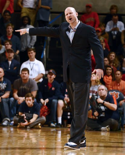 Mississippi coach Andy Kennedy gives his players directions in the second half of their NCAA college basketball game against Auburn on Saturday, Jan. 26, 2013 in Auburn, Ala. (AP Photo/Todd J. Van Emst)