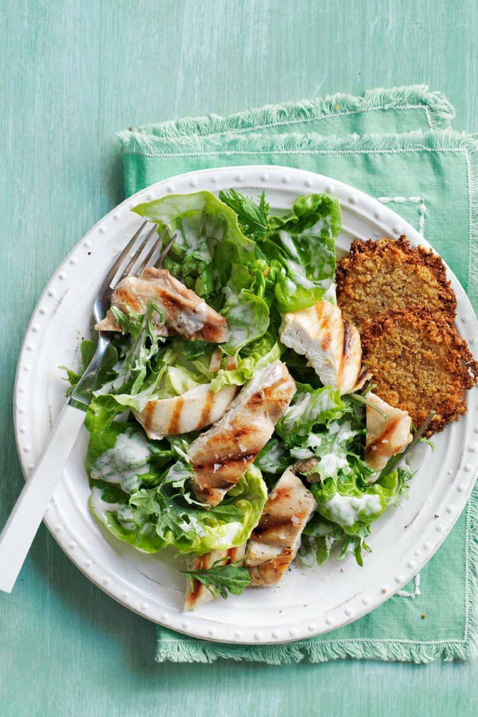 "<p>Don't underestimate this Caesar salad. Kale contains folate which may boost memory, while Greek yogurt provides a significant source of protein, which curbs appetite and aids weight loss.</p><p><a href=""https://www.womansday.com/food-recipes/recipes/a50554/kale-romaine-chicken-caesar-salad-recipe-wdy0615/"" rel=""nofollow noopener"" target=""_blank"" data-ylk=""slk:Get the recipe for Kale and Romaine Chicken Caesar Salad."" class=""link rapid-noclick-resp""><em>Get the recipe for Kale and Romaine Chicken Caesar Salad.</em></a> </p>"