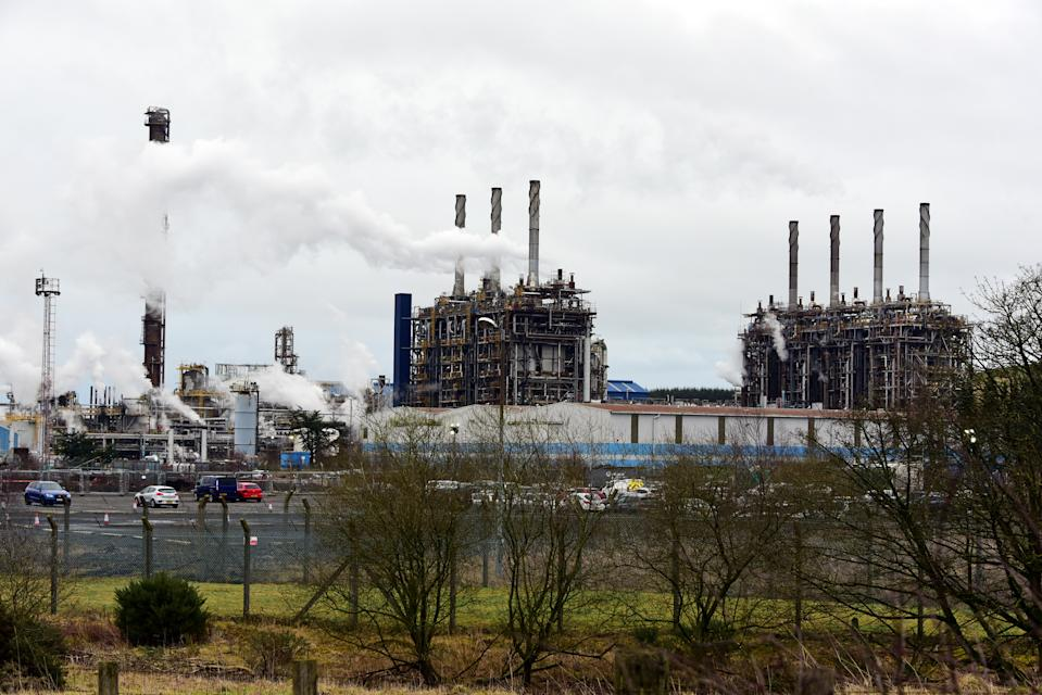 COWDENBEATH, SCOTLAND - FEBRUARY 19: ExxonMobil's Mossmorran ethylene cracker plant in Fife, after more than 100 contract staff reportedly walked out over concerns about health and safety and employment conditions, on February 19, 2020 in Cowdenbeath, Scotland. The plant has been beset by problems and has come under sustained criticism over the effects of flaring on local residents, and has only just re-opened after a shutdown period to address some of the issues. (Photo by Ken Jack/Getty Images)