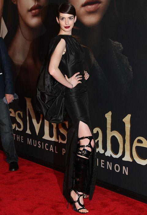 Anne in the Tom Ford gown and bondage boots. Credit: Getty Images