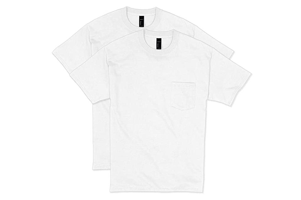 """<p>Goes without saying that a perfect-fitting plain white t-shirt is seasonless, but spring is really the time of year when a good $6 white tee punches the furthest above its weight.</p> <p><em>Hanes pocket """"Beefy-T"""" 2-pack</em></p> $11, Amazon. <a href=""""https://www.amazon.com/Hanes-Sleeve-Pocket-Beefy-T-X-Large/dp/B00JULYMO0/ref=sr_1_4?dchild=1&keywords=hanes%2Bbeefy%2Bt&qid=1616025359&sr=8-4&th=1&psc=1"""" rel=""""nofollow noopener"""" target=""""_blank"""" data-ylk=""""slk:Get it now!"""" class=""""link rapid-noclick-resp"""">Get it now!</a>"""