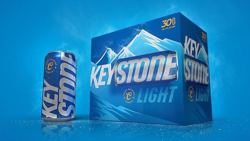 Keystone Light beer can next to case of beer