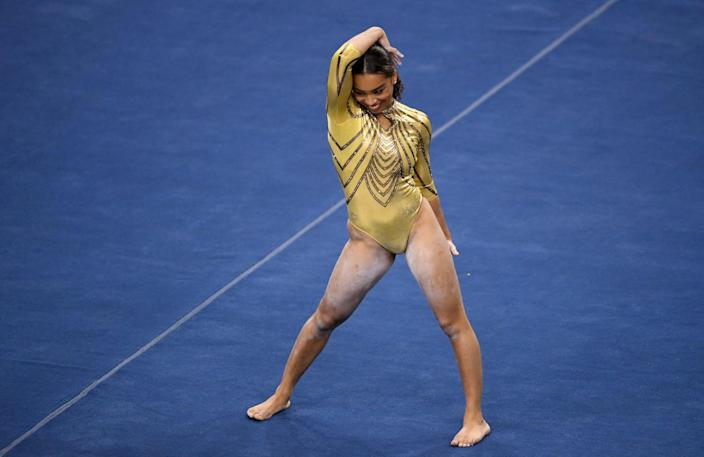 Los Angeles, CA - February 10:  UCLA Bruins gymnasts Margzetta Frazier competes in the floor routine against BYU during a gymnastics meet in Pauley Pavilion on the campus of UCLA in Los Angeles on Wednesday, February 10, 2021. (Photo by Keith Birmingham/MediaNews Group/Pasadena Star-News via Getty Images)