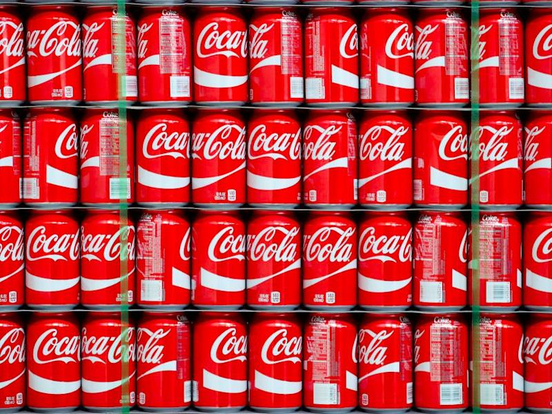 Pallets of Coke-Cola cans wait to the filled at a Coco-Cola bottling plant on February 10, 2017 in Salt Lake City, Utah.