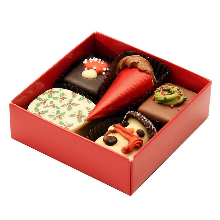"""<p>Everyone loves chocolate. And these festively decorated goodies are no exception. <a rel=""""nofollow"""" href=""""http://www.johnlewis.com/natalie-christmas-chocolate-selection-box-of-5-70g/p2725885?sku=236110347&s_kwcid=2dx92700014332037136&tmad=c&tmcampid=2&gclid=CJDl3O3o-s8CFeikcgodI6IOJg&gclsrc=ds#media-overlay_show""""><i>John Lewis, £4</i></a> </p>"""