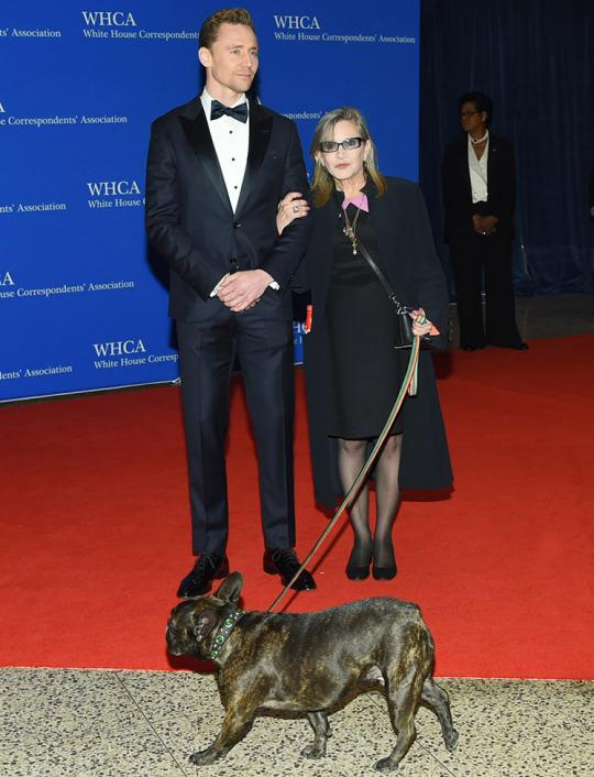 Carrie Fisher with Tom Hiddleston and her dog Gary at the 2016 dinner. (Photo: Evan Agostini/Invision/AP)