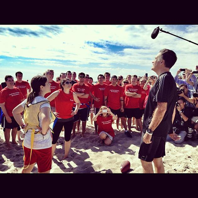Mitt Romney at a Romney staff vs press football game w @ashleyrparker (Delray Beach FL) - @hollybdc, via Twitter