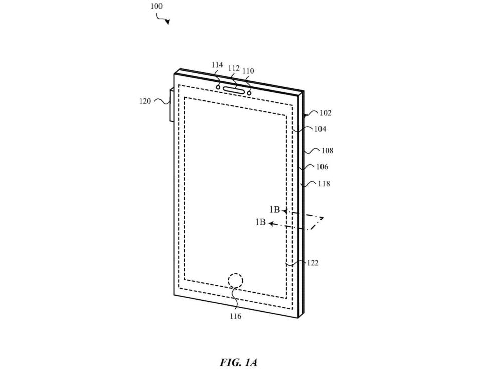 Apple explains that a device (100) may include one or more front-facing cameras (110), speakers (112), microphones, other components (114), and a virtual button (116). These components might sit under the display (104). - Credit: Apple Inc. via USPTO