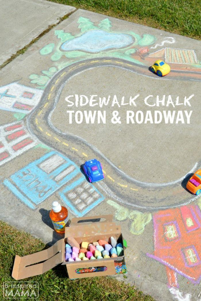 """<p>Use sidewalk chalk to create a fanciful roadway or track; let your kiddos envision the details however they like. Not just a fun treat for passersby on the sidewalk, this idea is interactive too: Zoom around the track using toy cars, trains, or little feet.</p><p><em><a href=""""https://b-inspiredmama.com/sidewalk-chalk-art-town/#_a5y_p=5459000"""" rel=""""nofollow noopener"""" target=""""_blank"""" data-ylk=""""slk:Get the tutorial from B-Inspired Mama »"""" class=""""link rapid-noclick-resp"""">Get the tutorial from B-Inspired Mama »</a></em></p>"""
