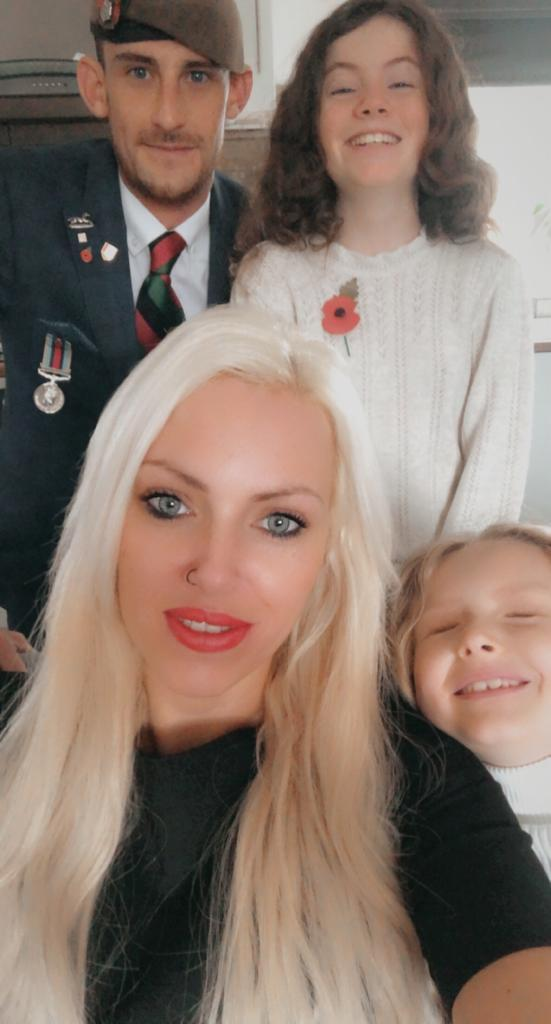 Veteran Ben Bainbridge and fiancee Steph Dunn, with their daughters Ellie and Ariel (Help for Heroes/PA)