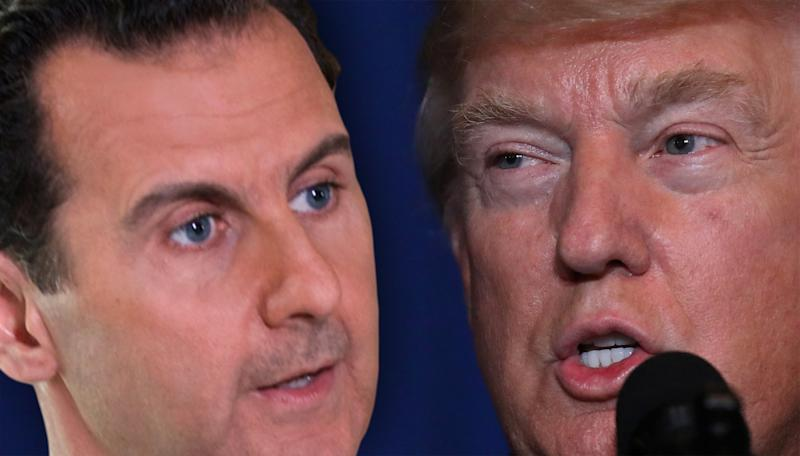 Syrian President Assad and President Donald Trump. (Photo illustration: Yahoo News; photos: AP, Carlos Barria/Reuters)