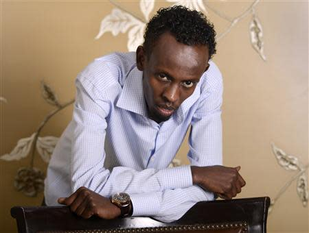 "Somali actor Barkhad Abdi poses for a portrait during a media publicity event for the film ""Captain Phillips"" in Los Angeles in this file photo"